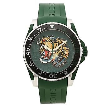 Gucci Ya136316 Green Dial Rubber Strap Watch For Men
