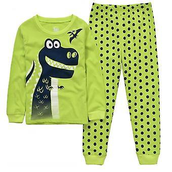 Pojat Sleepwear Puvut 100% Puuvilla Pitkät Vaatteet Setit Moottori T-paidat Housut