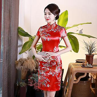 Flower Print Women Short Split Chinese Traditional Dress Plus Size Rayon