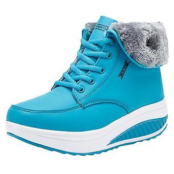 Mujeres invierno más terciopelo botines cuñas zapatillas de cuero