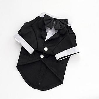 Gentleman dogs cat costume suit tuxedo formal black bow tie party wedding dress apparel jacket clothes for small dog