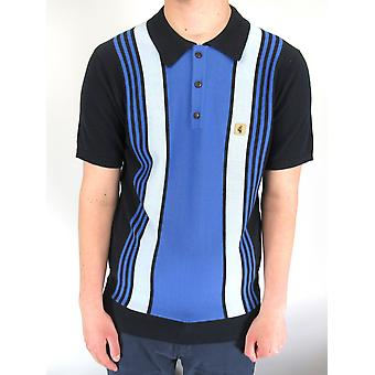 Searle Navy & Blue Striped Knitted Polo Shirt