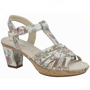 Cipriata Calvina señoras strappy sandalias de tacón floral metalizado