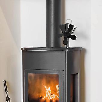 vidaXL chauffant ventilateur de cheminée 5 feuilles noir