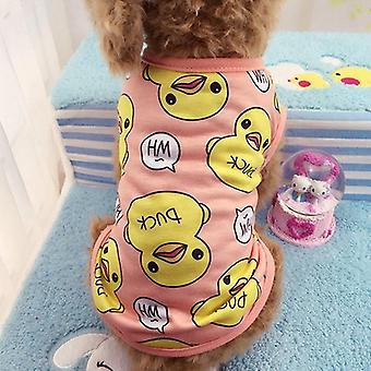 Dog cat clothes summer cartoon shirt vest bichon frise big yellow duck style