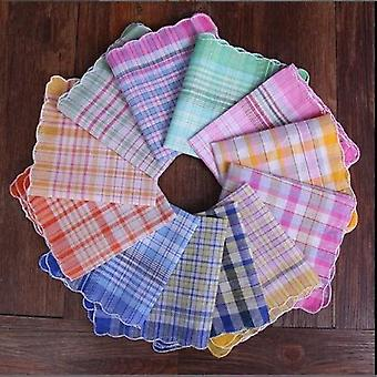 12pcs Womens Ladies Handkerchiefs 100% Cotton Soft Plaid Handkerchiefs