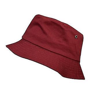 Chapéu de Balde de Algodão Unissex, Chapéu de Sol da Praia de Viagem (Vermelho)