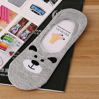 Roztomilé malé zvíře Cartoon Lady bavlněné ponožky Neviditelné silikonové protiskluzové ponožky