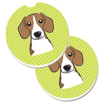 Caroline's Treasures Checkerboard Lime green Beagle Set di 2 Cup Holder Car Coasters BB1301CARC, 2.56, Multicolor
