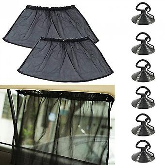 1 Pair Black Car Uv Protection Side Window Curtain Sun Shade With Suction Cup