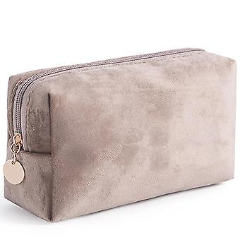 Portable velvet bronzing cosmetic bag large lipstick bag(Khaki)