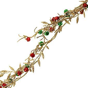 1,5m oro brillo Navidad Floristry Garland con rojo y verde Jingle Campanas
