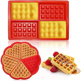 2 Pieces/set Of Silicone Waffle Molds, Baking Molds, Heart-shaped Rectangles, Reusable, Safe Baking Tools
