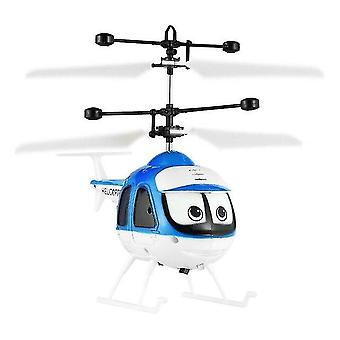 Mini Infrared Sensor Helicopter Aircraft 3D Micro Helicopter Toy Gift for Kids|RC Airplanes(Blue)