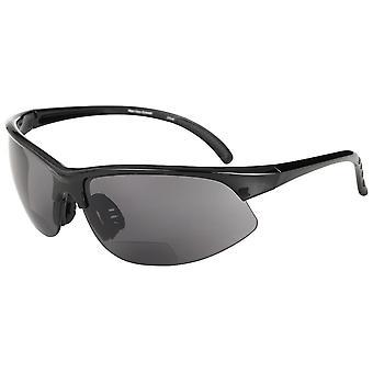 """The Wind Breaker"" Sport Wrap Polarized Bifocal Sunglasses - Outdoor Reading Glasses for Men and Women - Black - 3.00"