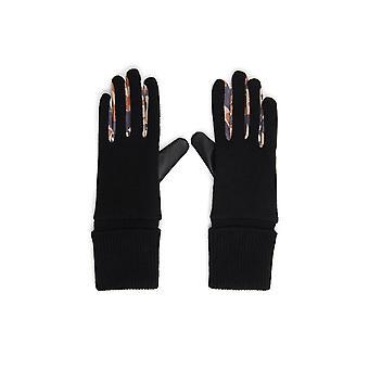 Desigual Animal Patch Gloves Black & Leoprd Print RRP£34 Style 21WAAA03