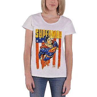 Official Womens Superman T Shirt DC Comics Distressed Flying New Grey Skinny Fit