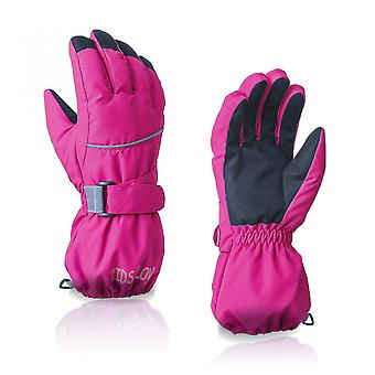 Rose Red Waterproof Warm Gloves For Outdoor Skiing (4-6 Years Old)