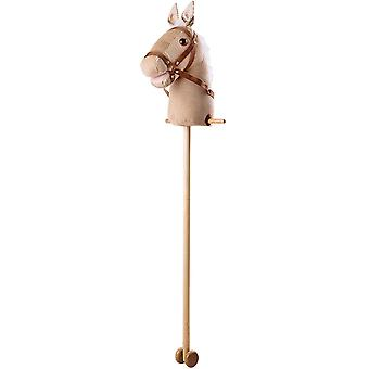 Beige Cord Hobby Horse with Handles and Wheels