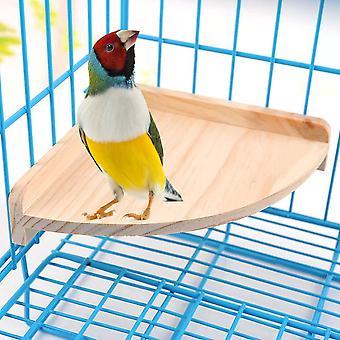 Pet Bird Perch Platform Stand Wood Cage Accessories