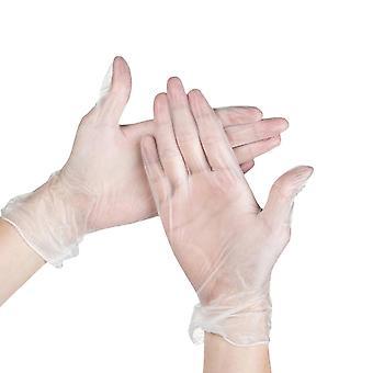 1oopcs Luvas descartáveis transparentes de Pvc em casa Use Medical Cleaning Kitchen Cooking Glove Size M