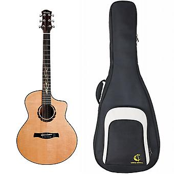 """Wenice 41 Inch Folk Acoustic Guitar Solid Spruce Rosewood Mahogany With """"double"""" Vibration Pickup D'addario Strings Colorful Shells"""