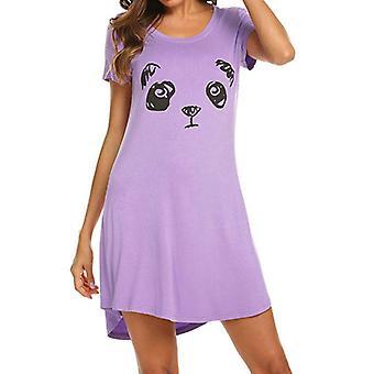 Women Nightdress Short Sleeve Mini Dress Sleepwear Pajama Casual