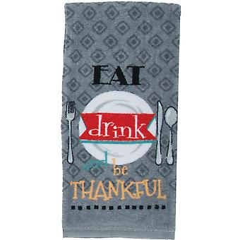 Eat Drink And Be Thankful Gray Kitchen Print Dish Towel
