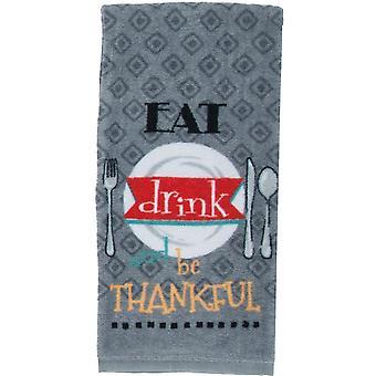 Comer beber e ser grato cozinha cinza impressão de prato toalha