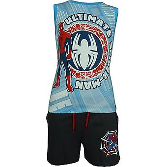 Jungen Marvel Spiderman Sleeveless T-ShirtVest Top & Shorts