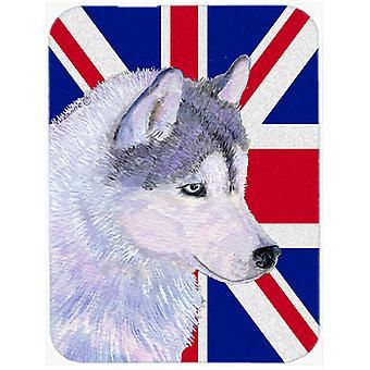 Siberian Husky with English Union Jack British Flag Glass Cutting Board Large Si