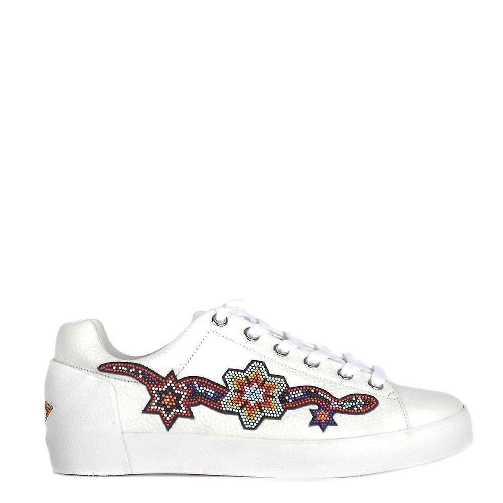 Ash skor Namaste vitt läder pärlstav tränare