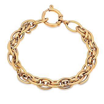 Ladies 18K Gold Plated Stainless Steel Cluster Link Bracelet