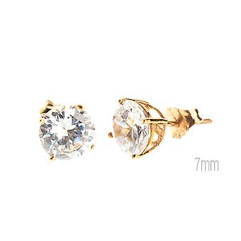14 K Gold iced out Stud Earrings - CAST ROUND