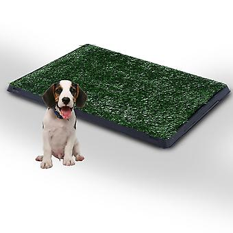 PawHut Indoor Pet Dog Toilet Mat Potty Tray Training Grass Restroom with Tray and Loo Pad