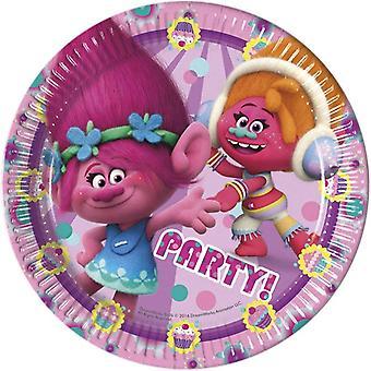 Piatto partito piastra troll compleanno festa bambini 23cm diametro 8 pezzi