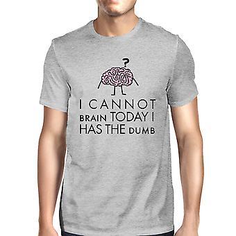 لا يمكن أن الدماغ قد القميص القطن الخفيف البكم رجالي الرمادي