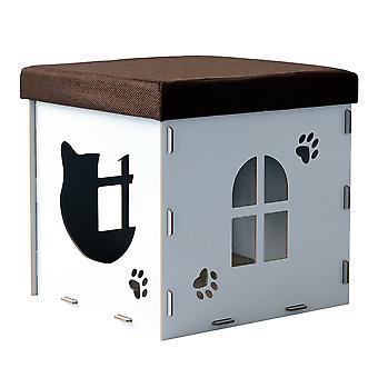 PawHut Cat Cave Pet House Shelter Footstool Upholstered Lid with Scratching Pad 41 x 41 x 41cm White