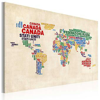 Canvas Print - Italian names of countries in vivid colors