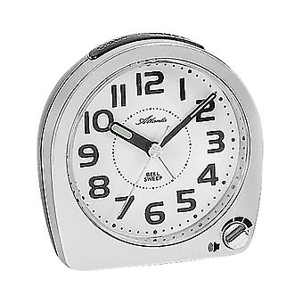 Atlanta 1738/19 alarm clock quartz analog silver quietly without ticking with light Snooze