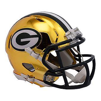 Riddell mini fodbold hjelm - NFL CHROME Green Bay Packers