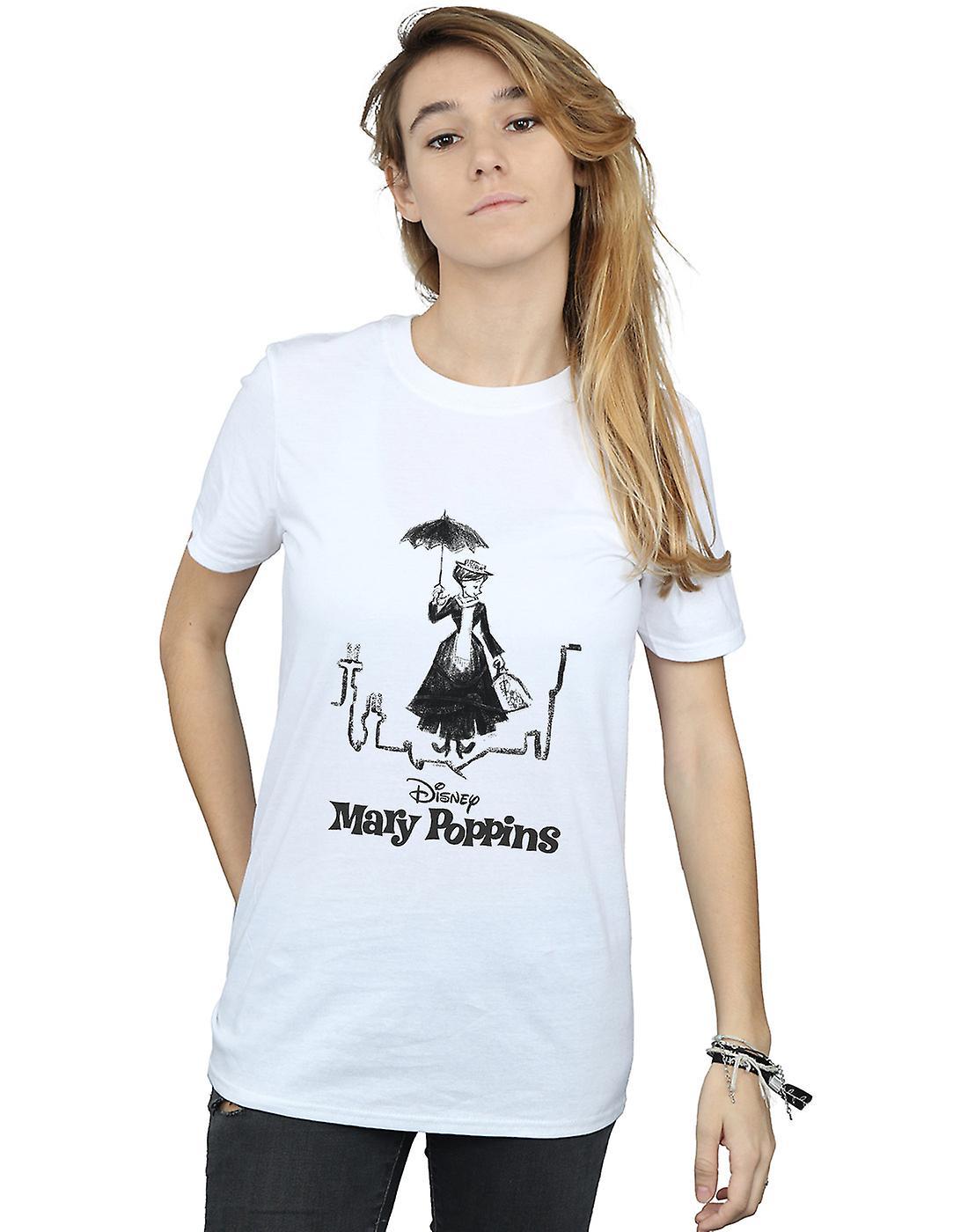 Disney Women's Mary Poppins Rooftop Landing Boyfriend Fit T-Shirt