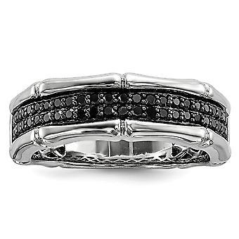 925 Sterling Zilver gepolijst Prong set Gift Boxed Rhodium verguld Black Diamond Mens Ring Sieraden Geschenken voor mannen - Ring Si