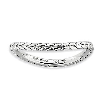 1.5mm 925 Sterling Silver Patterned Rhodium plated Stackable Expressions Polished Rhodium plate Wave Ring Jewelry Gifts