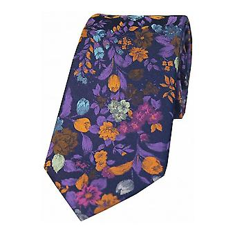 Posh and Dandy Flowers Luxury Silk Tie - Navy/Purple/Orange