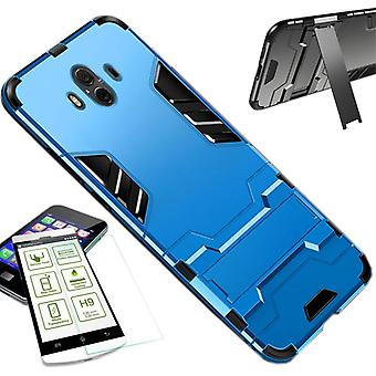 Für Huawei Mate 20 Lite Metal Style Hybrid Case TPU Silikon Hellblau + 0,26 mm 2.5D H9 Hartglas Tasche Hülle Cover Hülle