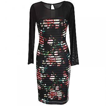 Michaela Louisa Long Netted Sleeve Roses Print Dress