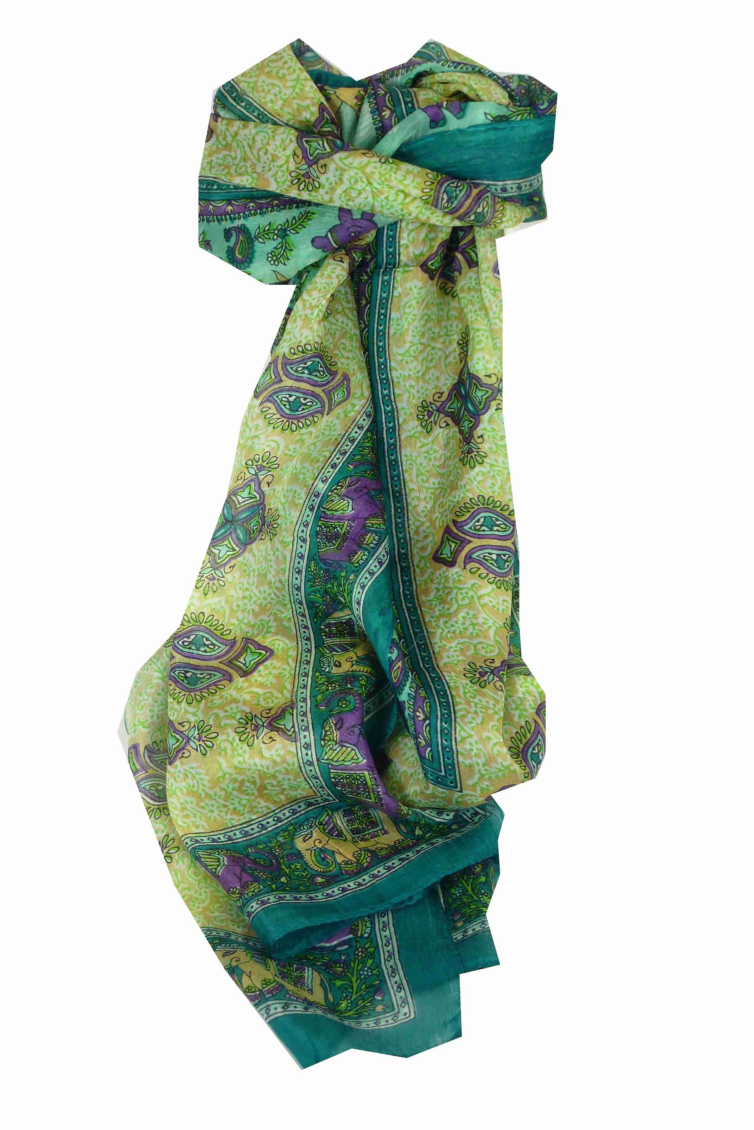 Mulberry Silk Traditional Long Scarf Rei Teal by Pashmina & Silk