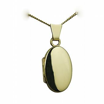 18ct Gold 18x11mm plain oval Locket with a curb Chain 20 inches