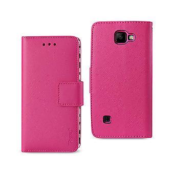 Reiko LG K3 Wallet Case With Inner Zebra Print In Hot Pink